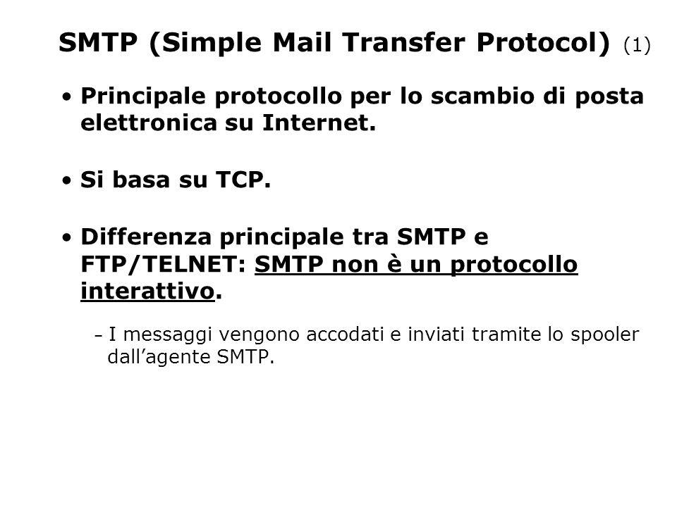 SMTP (Simple Mail Transfer Protocol) (1) Principale protocollo per lo scambio di posta elettronica su Internet.