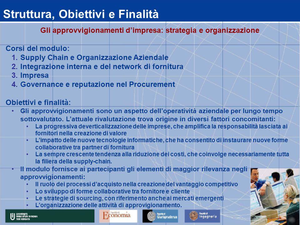 Struttura, Obiettivi e Finalità Gli approvvigionamenti d'impresa: strategia e organizzazione Corsi del modulo: 1.Supply Chain e Organizzazione Azienda
