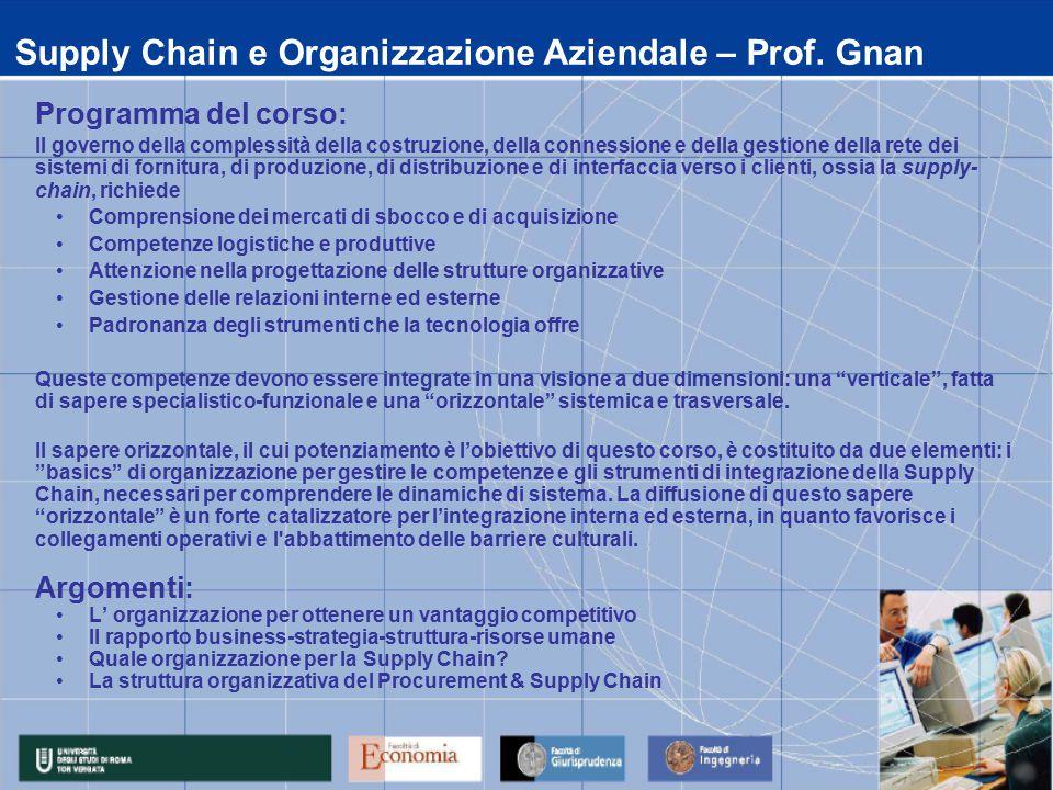 Supply Chain e Organizzazione Aziendale – Prof. Gnan Programma del corso: Il governo della complessità della costruzione, della connessione e della ge