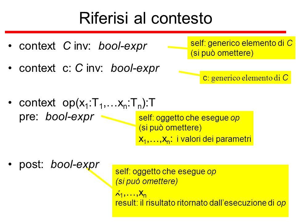 versione 0.0 Riferisi al contesto context C inv: bool-expr self: generico elemento di C (si può omettere) c : generico elemento di C self: oggetto che