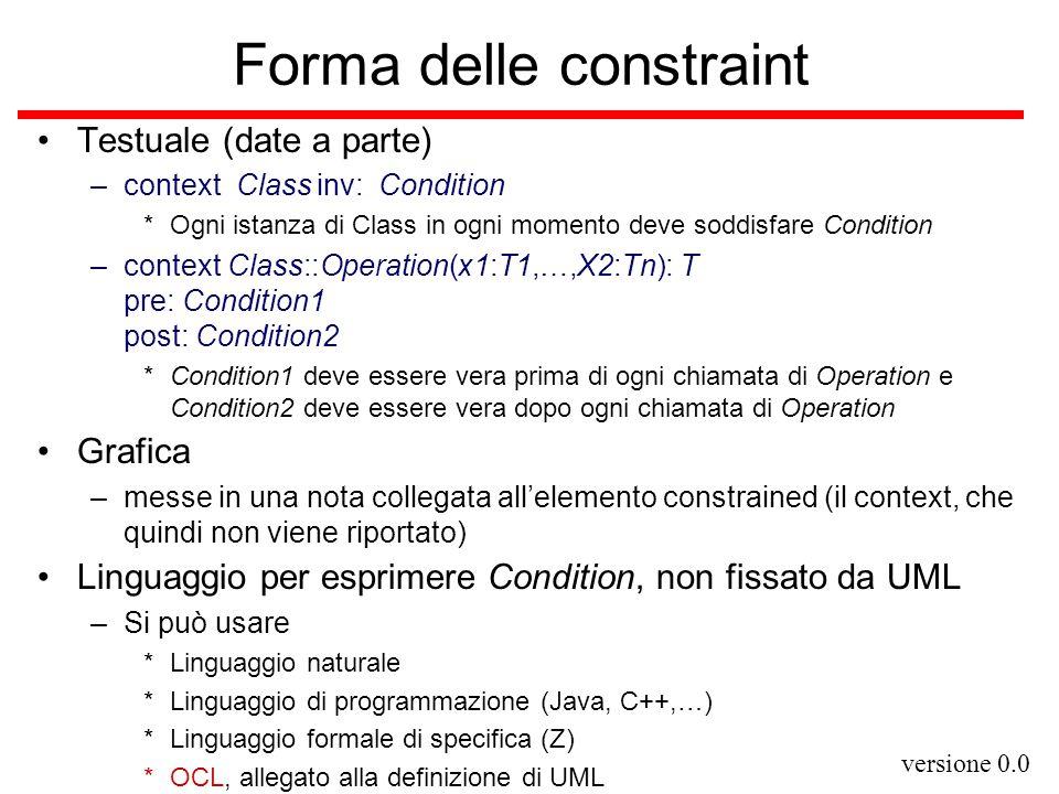 versione 0.0 OCL (Object Constraint Language) Privo di side effects (linguaggio puramente funzionale) Tipi ed espressioni –Soliti tipi base –collection (supertito dei tipi strutturati) *perché in OCL non c'è nulla corrispondente al prodotto cartesiano/record.