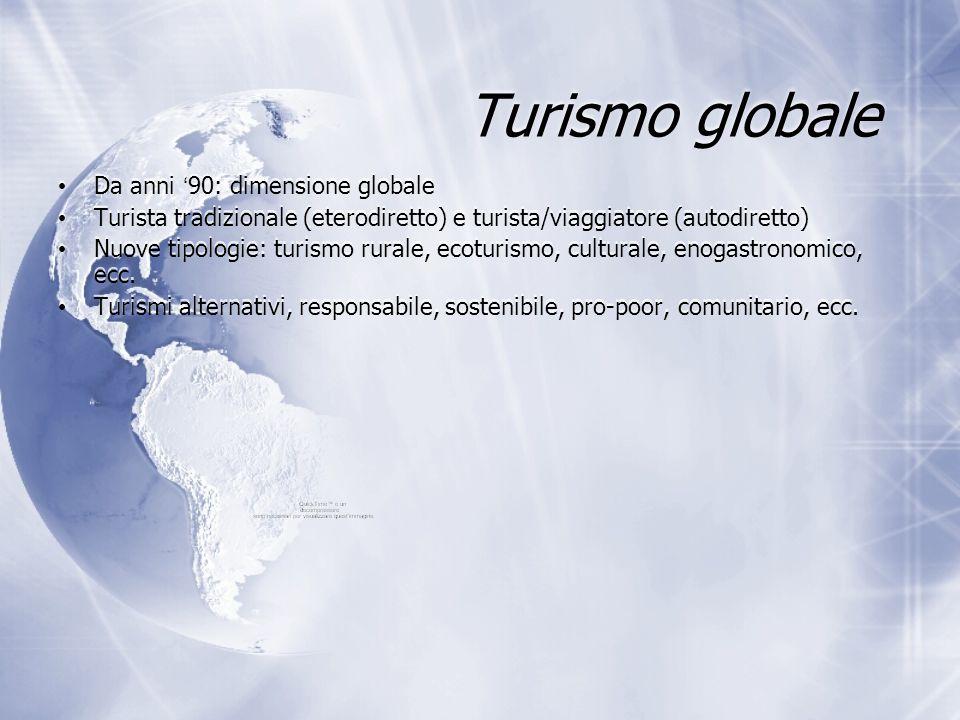 Turismo globale Da anni ' 90: dimensione globale Turista tradizionale (eterodiretto) e turista/viaggiatore (autodiretto) Nuove tipologie: turismo rura
