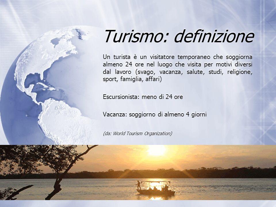 Turismo: definizione Un turista è un visitatore temporaneo che soggiorna almeno 24 ore nel luogo che visita per motivi diversi dal lavoro (svago, vaca