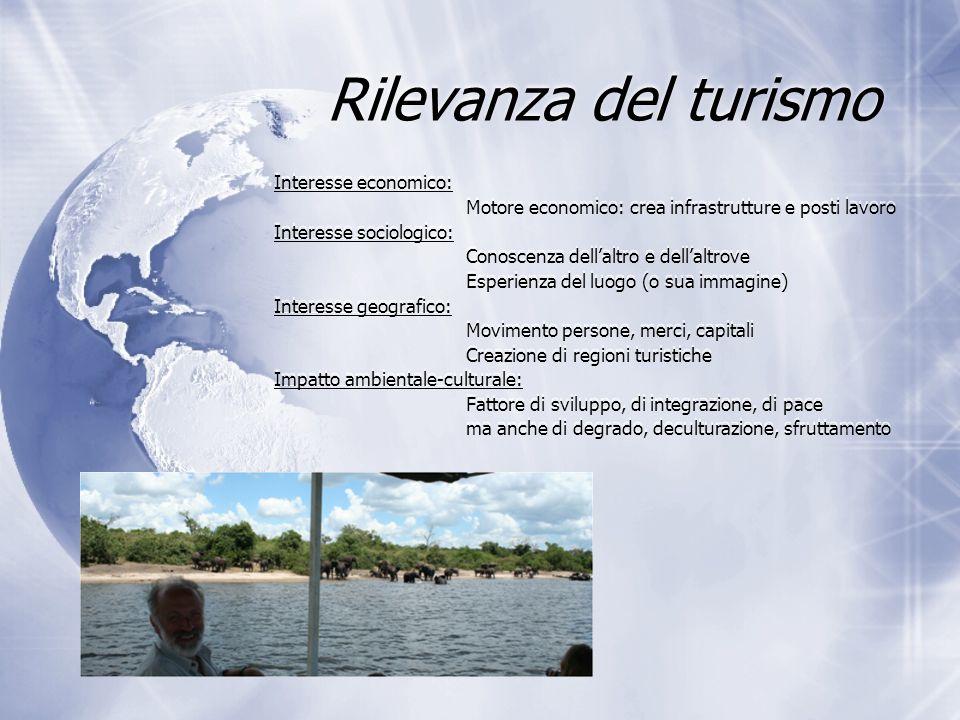 Rilevanza del turismo Interesse economico: Motore economico: crea infrastrutture e posti lavoro Interesse sociologico: Conoscenza dell'altro e dell'al