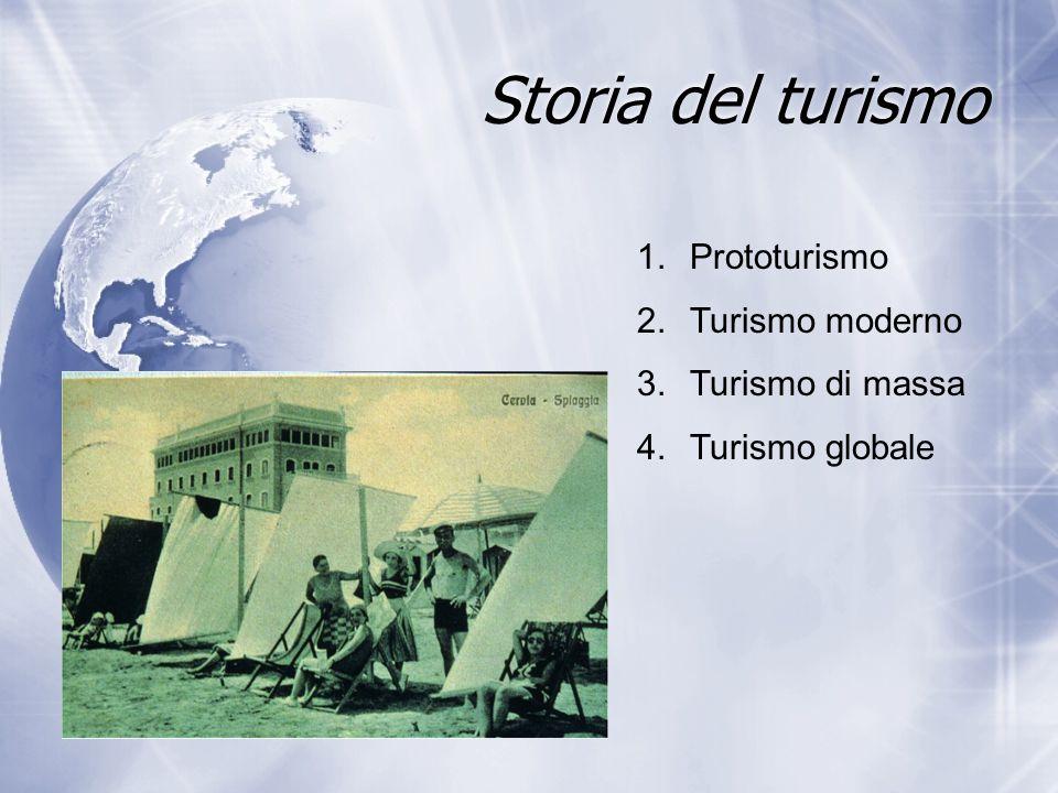 Storia del turismo 1.Prototurismo 2.Turismo moderno 3.Turismo di massa 4.Turismo globale