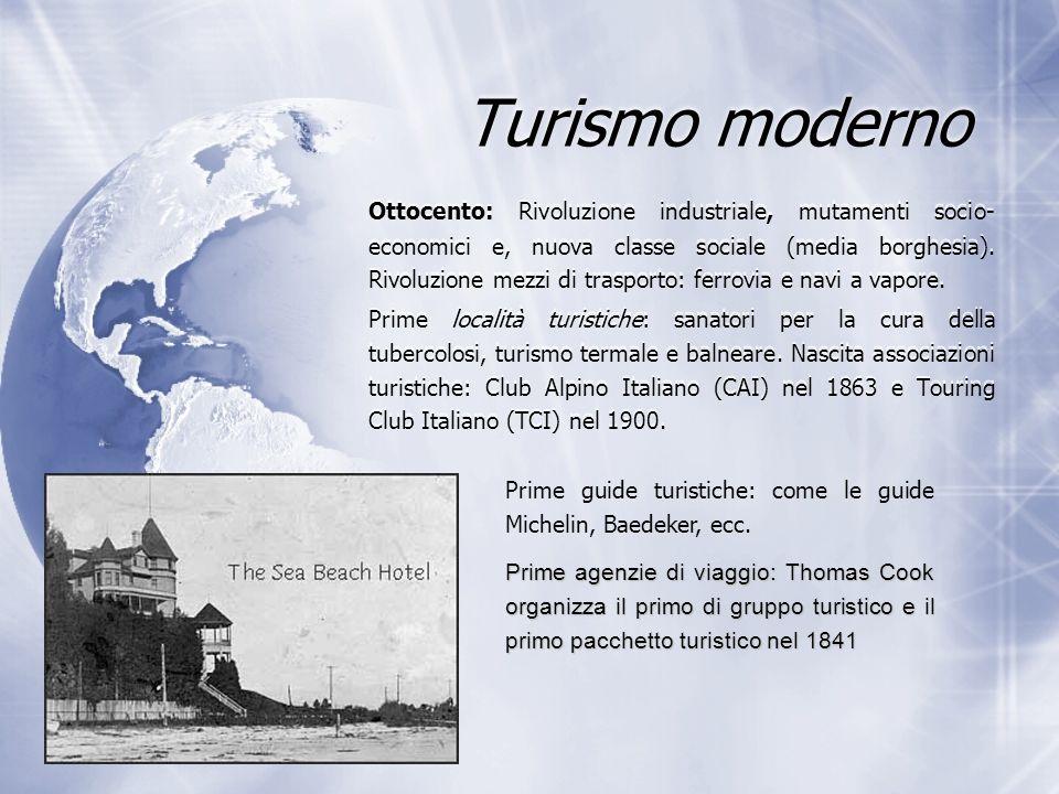 Turismo moderno Ottocento: Rivoluzione industriale, mutamenti socio- economici e, nuova classe sociale (media borghesia). Rivoluzione mezzi di traspor