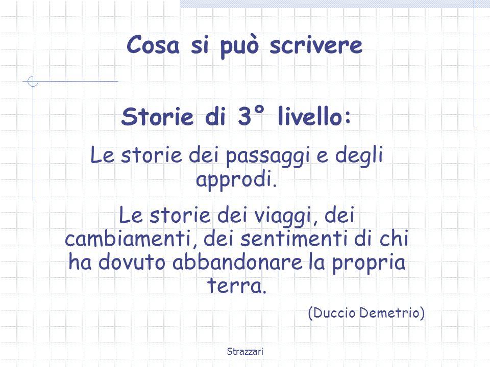 Strazzari Cosa si può scrivere Storie di 3° livello: Le storie dei passaggi e degli approdi. Le storie dei viaggi, dei cambiamenti, dei sentimenti di