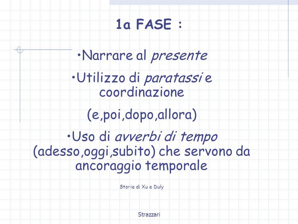 Strazzari 1a FASE : Narrare al presente Utilizzo di paratassi e coordinazione (e,poi,dopo,allora) Uso di avverbi di tempo (adesso,oggi,subito) che ser