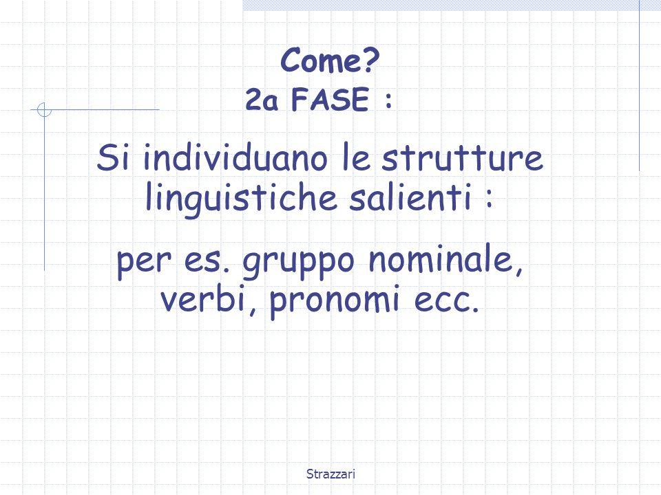 Strazzari Come? 2a FASE : Si individuano le strutture linguistiche salienti : per es. gruppo nominale, verbi, pronomi ecc.
