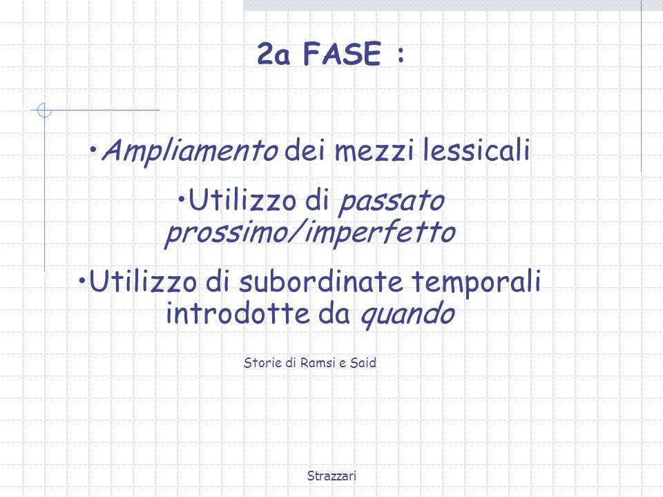 Strazzari 2a FASE : Ampliamento dei mezzi lessicali Utilizzo di passato prossimo/imperfetto Utilizzo di subordinate temporali introdotte da quando Sto