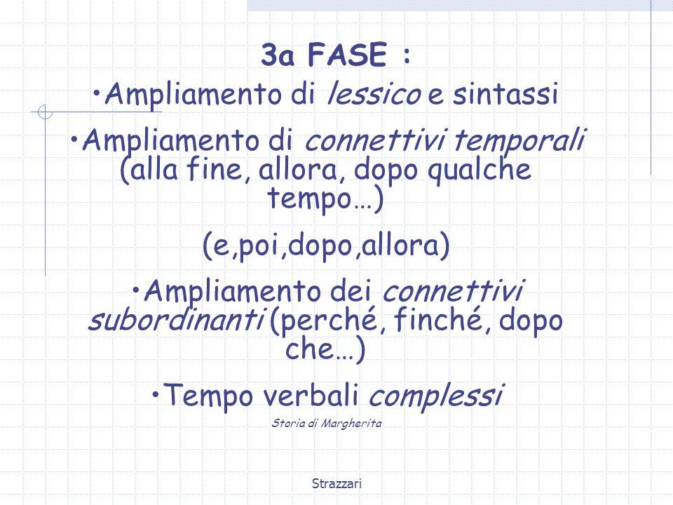 Strazzari 3a FASE : Ampliamento di lessico e sintassi Ampliamento di connettivi temporali (alla fine, allora, dopo qualche tempo…) (e,poi,dopo,allora)