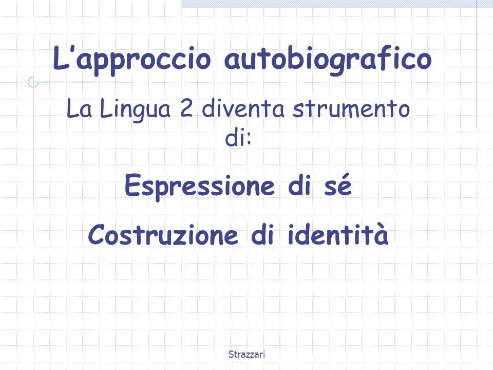 Strazzari L'approccio autobiografico La Lingua 2 diventa strumento di: Espressione di sé Costruzione di identità
