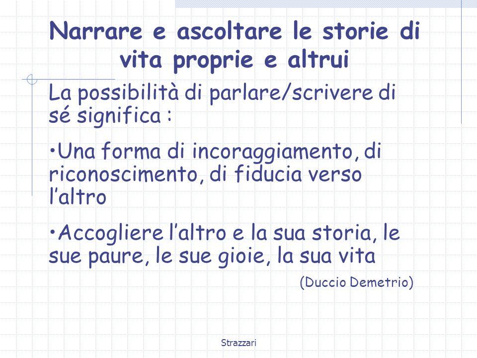 Strazzari 3a FASE : Ampliamento di lessico e sintassi Ampliamento di connettivi temporali (alla fine, allora, dopo qualche tempo…) (e,poi,dopo,allora) Ampliamento dei connettivi subordinanti (perché, finché, dopo che…) Tempo verbali complessi Storia di Margherita