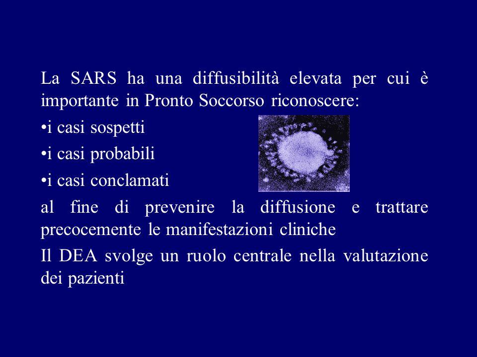 La SARS ha una diffusibilità elevata per cui è importante in Pronto Soccorso riconoscere: i casi sospetti i casi probabili i casi conclamati al fine d