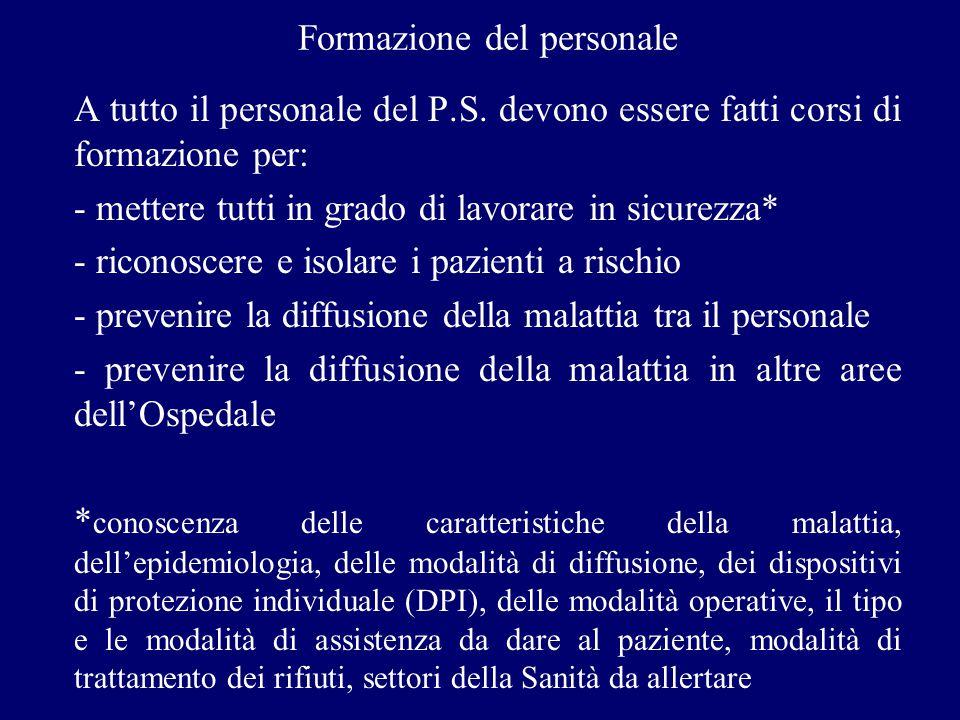 Protocollo per gli operatori del Pronto Soccorso in caso di sospetta malattia infettiva a diffusione aerea con insuff.