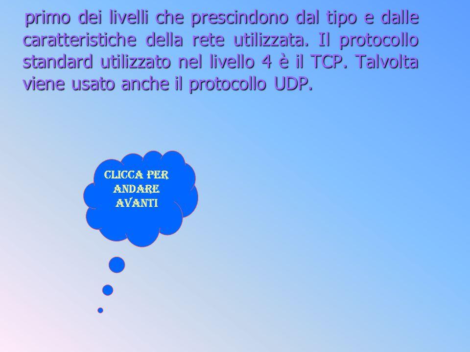 primo dei livelli che prescindono dal tipo e dalle caratteristiche della rete utilizzata. Il protocollo standard utilizzato nel livello 4 è il TCP. Ta