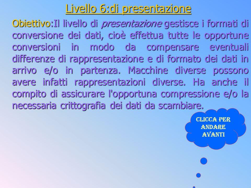 Livello 6:di presentazione Obiettivo:Il livello di presentazione gestisce i formati di conversione dei dati, cioè effettua tutte le opportune conversi