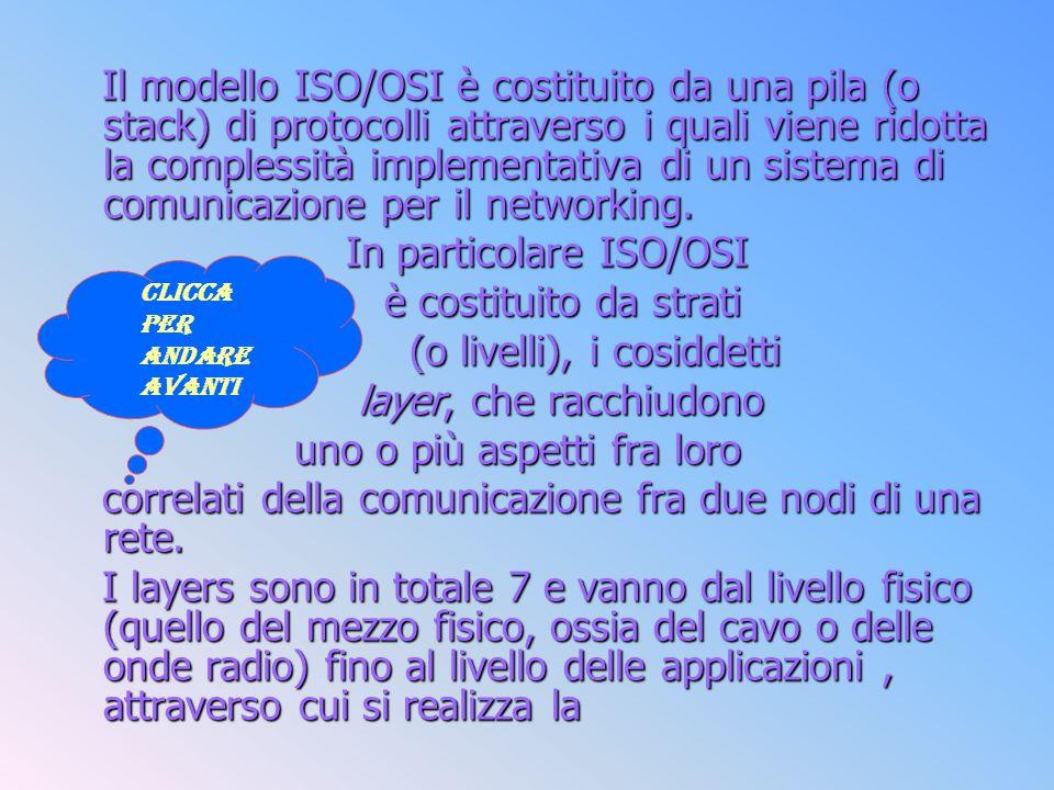 Il modello ISO/OSI è costituito da una pila (o stack) di protocolli attraverso i quali viene ridotta la complessità implementativa di un sistema di co