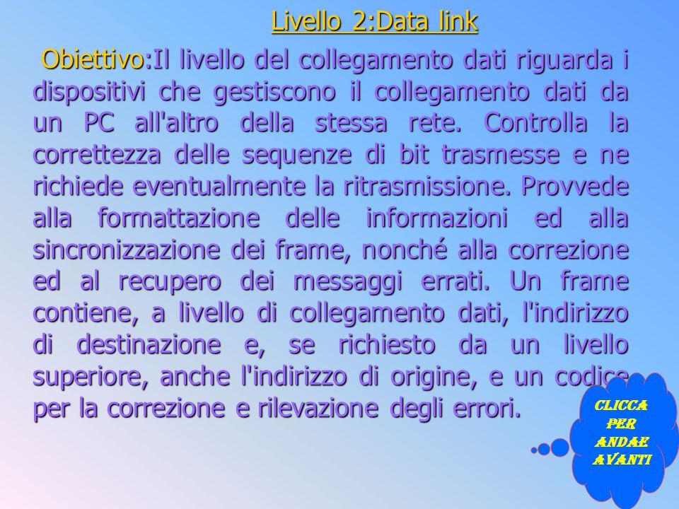 Livello 2:Data link Obiettivo:Il livello del collegamento dati riguarda i dispositivi che gestiscono il collegamento dati da un PC all'altro della ste