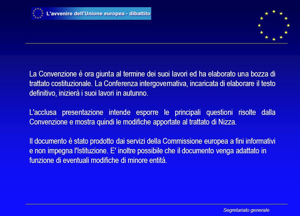 Segretariato generale COMPETENZE PIÙ CHIARE Competenze esclusive Competenze concorrenti Azioni di sostegno, di coordinamento o di complemento Coordinamento delle politiche economiche e dell'occupazione Politica estera e di sicurezza comune : solo l'UE esercita il potere legislativo : sia l'UE sia gli Stati membri esercitano il potere legislativo : nessuna armonizzazione da parte dell'UE Commissione europea: