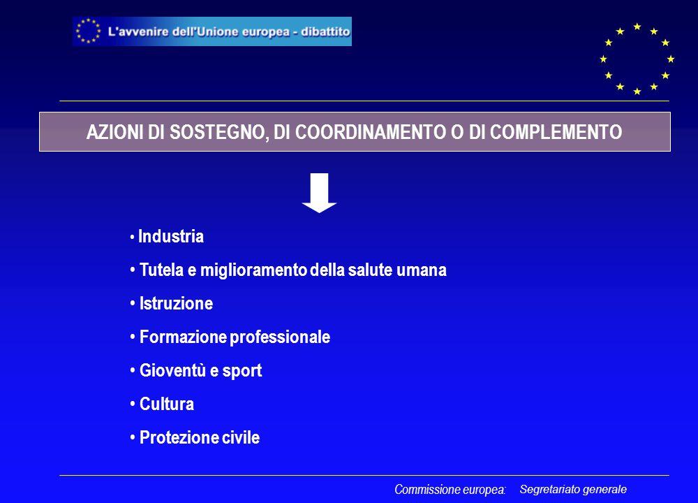 Segretariato generale Commissione europea: Industria Tutela e miglioramento della salute umana Istruzione Formazione professionale Gioventù e sport Cultura Protezione civile AZIONI DI SOSTEGNO, DI COORDINAMENTO O DI COMPLEMENTO