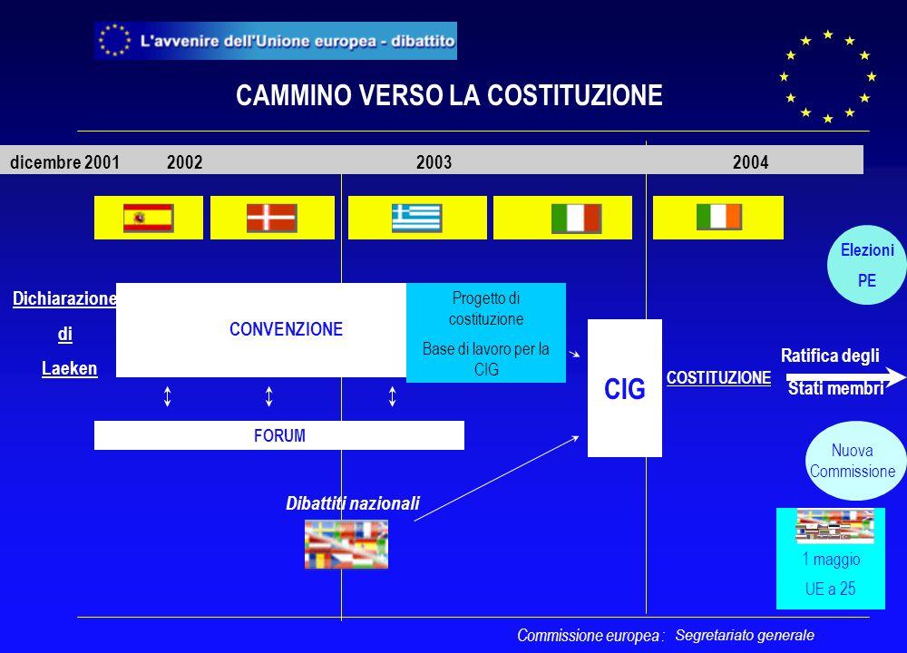 Segretariato generale CONVENZIONE CIG 2002 2003 2004 Progetto di costituzione Base di lavoro per la CIG FORUM CAMMINO VERSO LA COSTITUZIONE Elezioni P