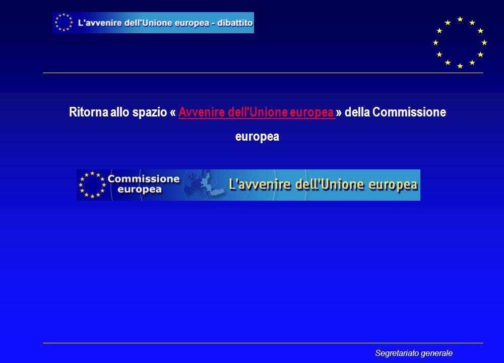 Segretariato generale Ritorna allo spazio « Avvenire dell Unione europea » della CommissioneAvvenire dell Unione europea europea