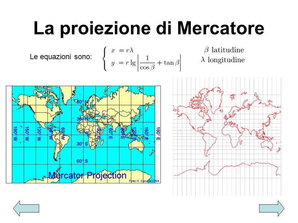 La proiezione di Mercatore Le equazioni sono: