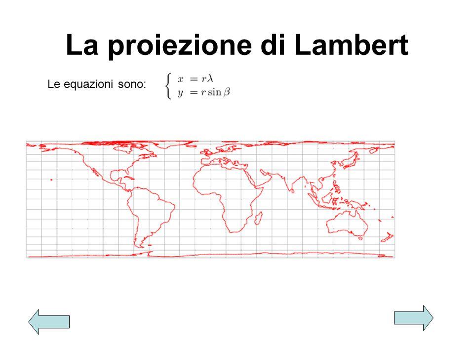 La proiezione di Lambert Le equazioni sono: