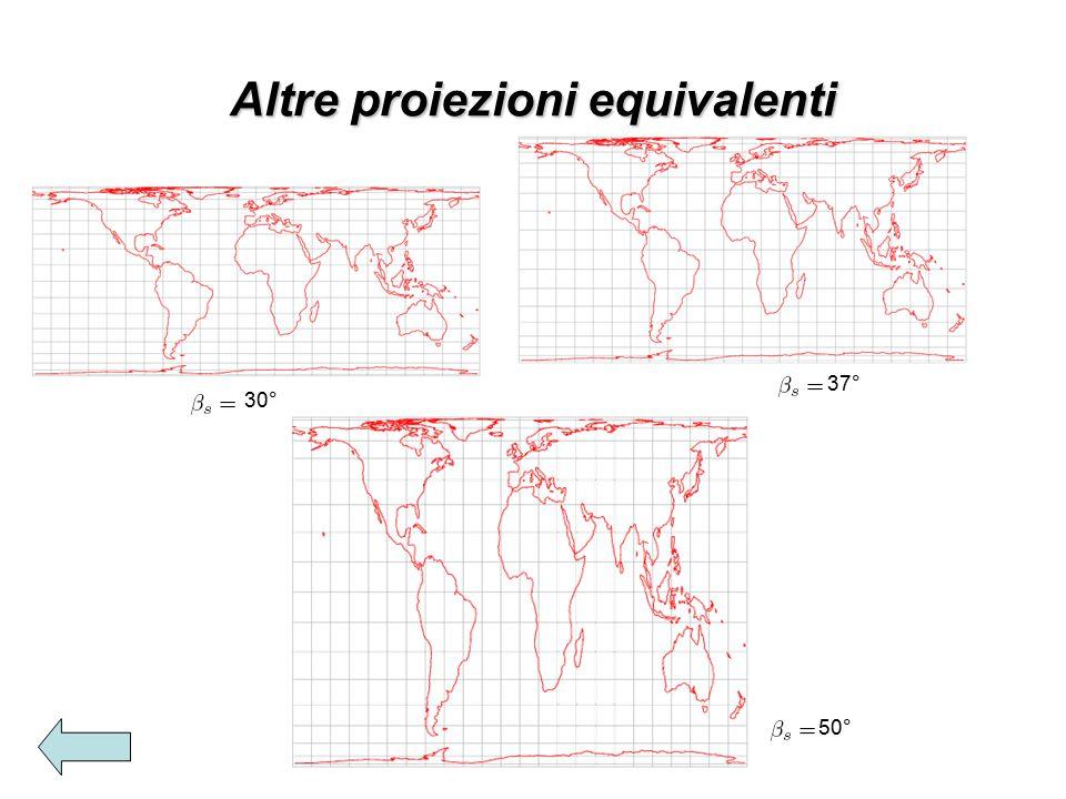 Altre proiezioni equivalenti 30° 37° 50°