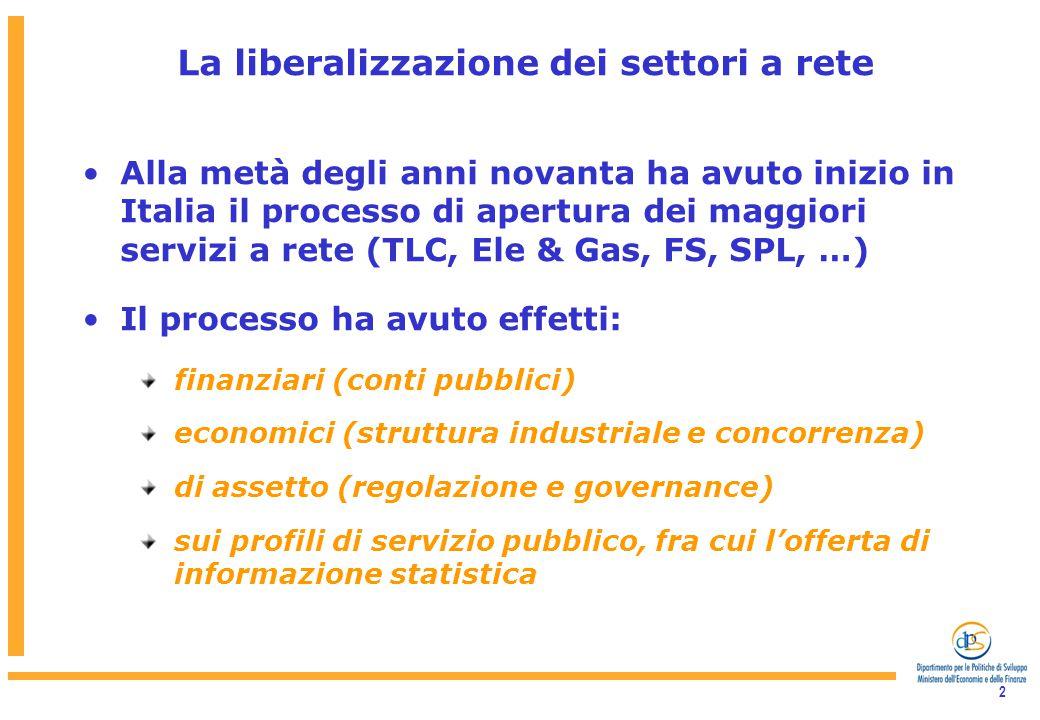 2 La liberalizzazione dei settori a rete Alla metà degli anni novanta ha avuto inizio in Italia il processo di apertura dei maggiori servizi a rete (TLC, Ele & Gas, FS, SPL, …) Il processo ha avuto effetti: finanziari (conti pubblici) economici (struttura industriale e concorrenza) di assetto (regolazione e governance) sui profili di servizio pubblico, fra cui l'offerta di informazione statistica