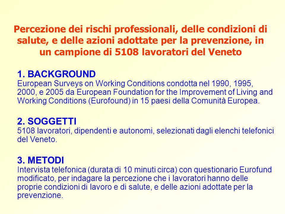 Percezione dei rischi professionali, delle condizioni di salute, e delle azioni adottate per la prevenzione, in un campione di 5108 lavoratori del Veneto 1.