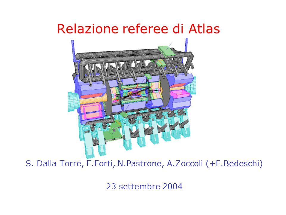 20 settembre 2004CSN1 - Referee di Atlas2 Commenti generali Grandi progressi in tutti i rivelatori –La luce alla fine del tunnel si sta facendo più intensa –Successo del combined test beam: acquisita una slice completa –Tile, LAr: completi ed in fase di commissioning –MDT: Filatura in dirittura di arrivo –RPC: Produzione camere prosegue, anche se con ritardi –Integrazione MDT-RPC: the next challenge –Pixel: iniziata la produzione di staves –LVL1: avanti tutta.