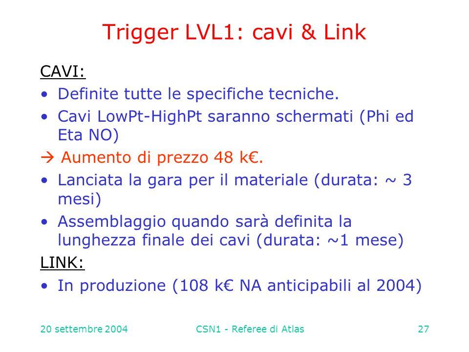 20 settembre 2004CSN1 - Referee di Atlas27 Trigger LVL1: cavi & Link CAVI: Definite tutte le specifiche tecniche.
