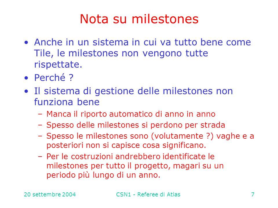 20 settembre 2004CSN1 - Referee di Atlas38 2005 – integrazione/commissioning/installazione larga parte dell' attivita' fuori sede (ME !) planning attivita' al CERN ( Infrastruttura e logistica organizzate dal gruppo CERN): BML – LNF Integrazione : 44 camere Test cosmici : 94 camere Installazione settore 13 (primavera) : 6 stazioni  5 persone x 3 weeks = 4 m.u.
