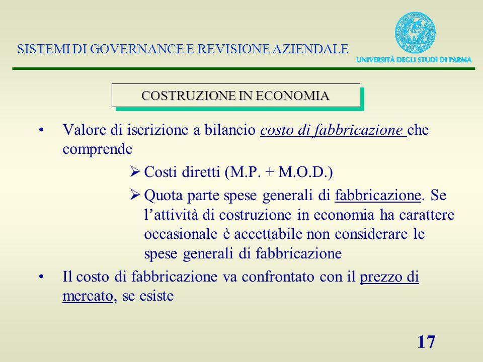 SISTEMI DI GOVERNANCE E REVISIONE AZIENDALE 17 Valore di iscrizione a bilancio costo di fabbricazione che comprende  Costi diretti (M.P.