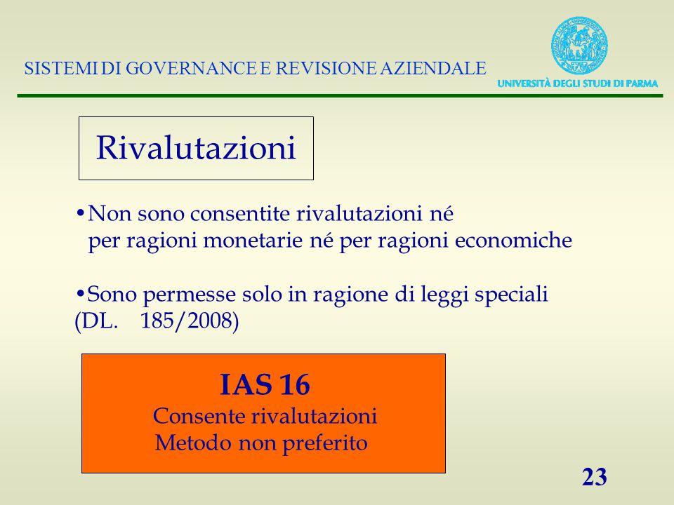 SISTEMI DI GOVERNANCE E REVISIONE AZIENDALE 23 Rivalutazioni Non sono consentite rivalutazioni né per ragioni monetarie né per ragioni economiche Sono permesse solo in ragione di leggi speciali (DL.