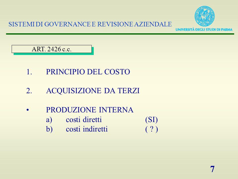 SISTEMI DI GOVERNANCE E REVISIONE AZIENDALE 7 1. PRINCIPIO DEL COSTO 2.
