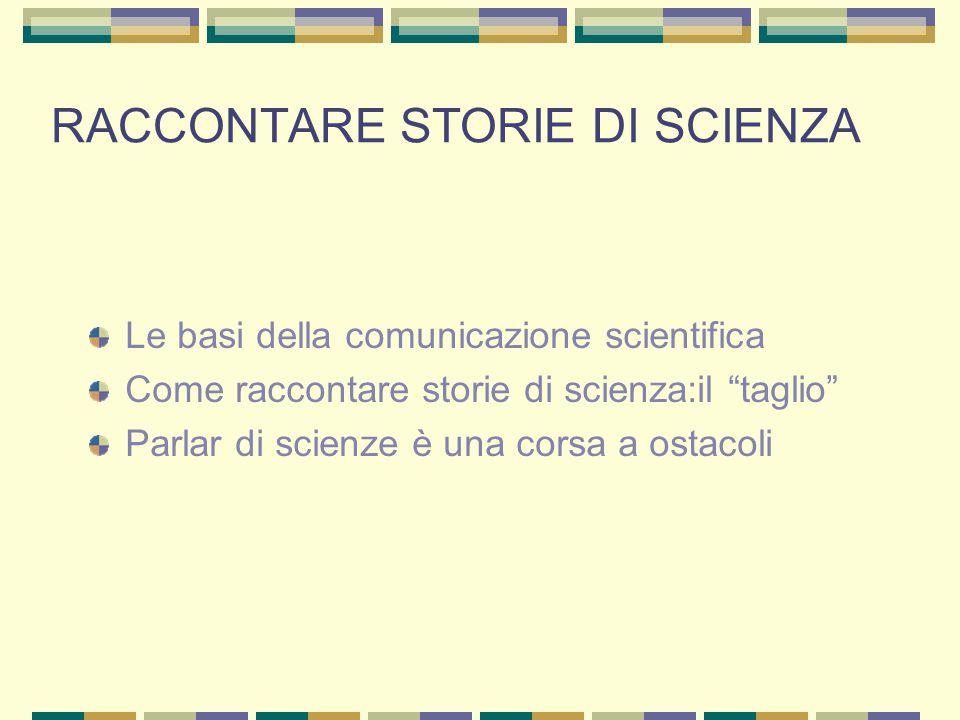 RACCONTARE STORIE DI SCIENZA Le basi della comunicazione scientifica Come raccontare storie di scienza:il taglio Parlar di scienze è una corsa a ostacoli