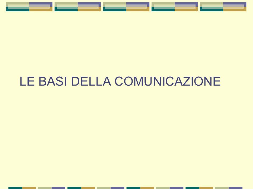 LE BASI DELLA COMUNICAZIONE