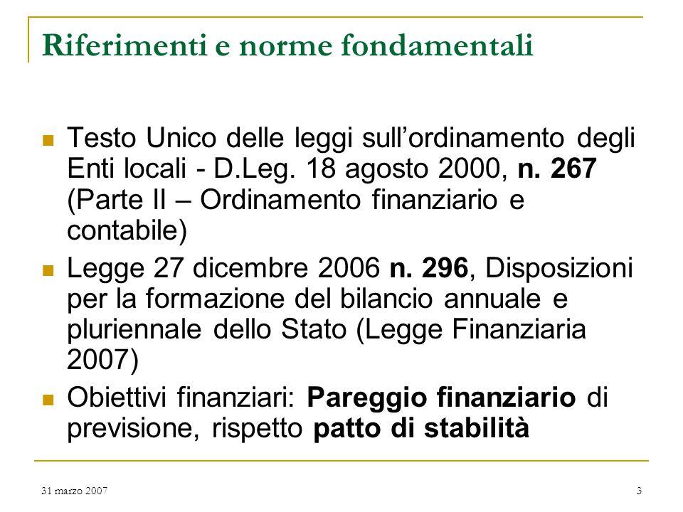 31 marzo 20073 Riferimenti e norme fondamentali Testo Unico delle leggi sull'ordinamento degli Enti locali - D.Leg.
