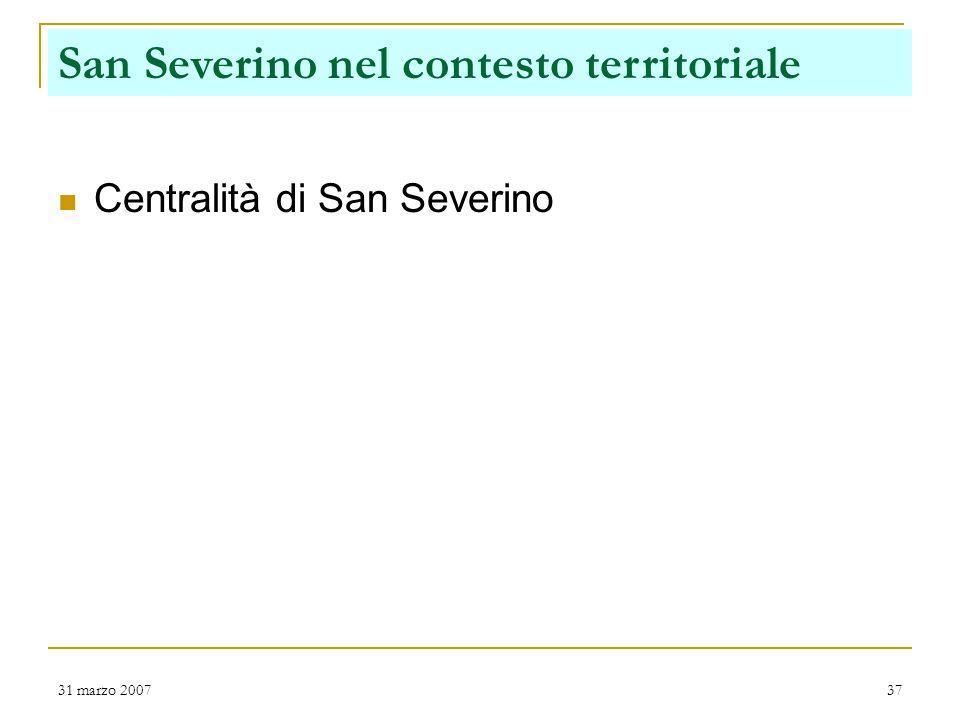31 marzo 200737 Centralità di San Severino San Severino nel contesto territoriale