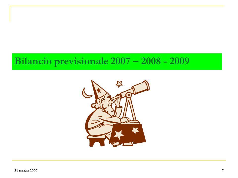 31 marzo 20078 Il sistema dei valori Trasparenza Legalità Partecipazione Rispetto e valorizzazione dell'individuo Tutela dei più deboli Sostenibilità ambientale Qualità e innovazione