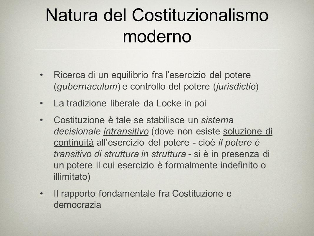 Natura del Costituzionalismo moderno Ricerca di un equilibrio fra l'esercizio del potere (gubernaculum) e controllo del potere (jurisdictio) La tradiz