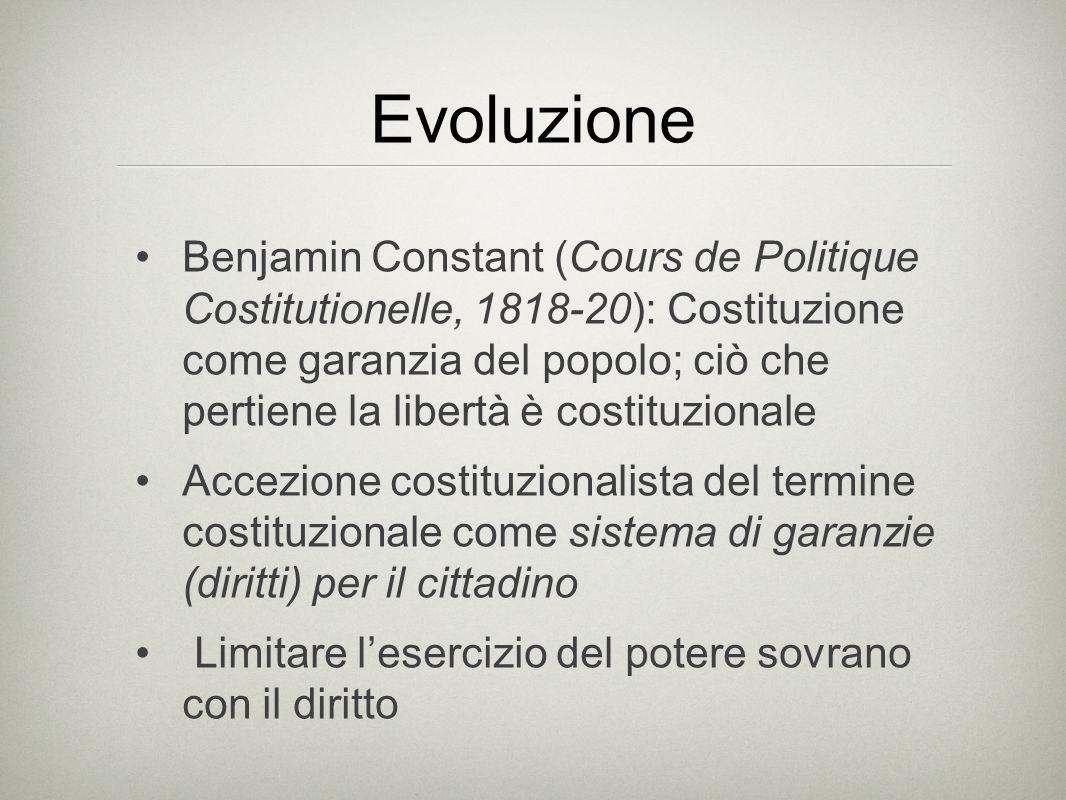 Evoluzione Benjamin Constant (Cours de Politique Costitutionelle, 1818-20): Costituzione come garanzia del popolo; ciò che pertiene la libertà è costi