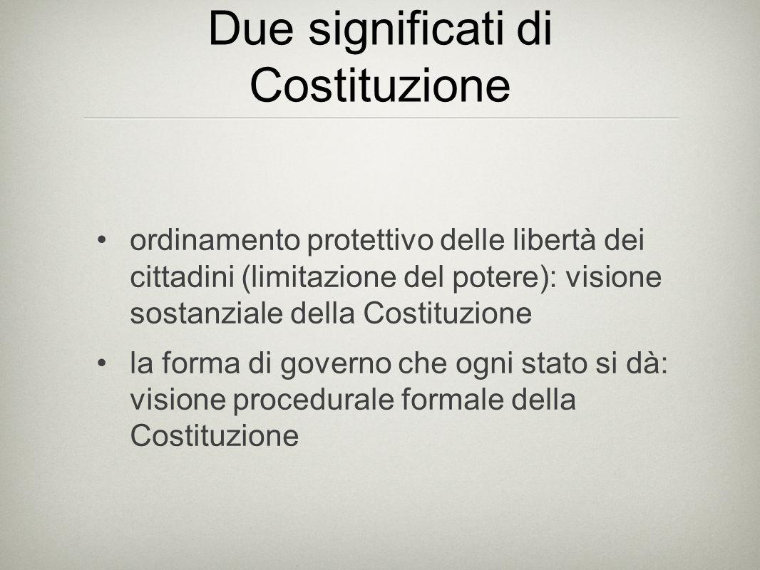 Due significati di Costituzione ordinamento protettivo delle libertà dei cittadini (limitazione del potere): visione sostanziale della Costituzione la