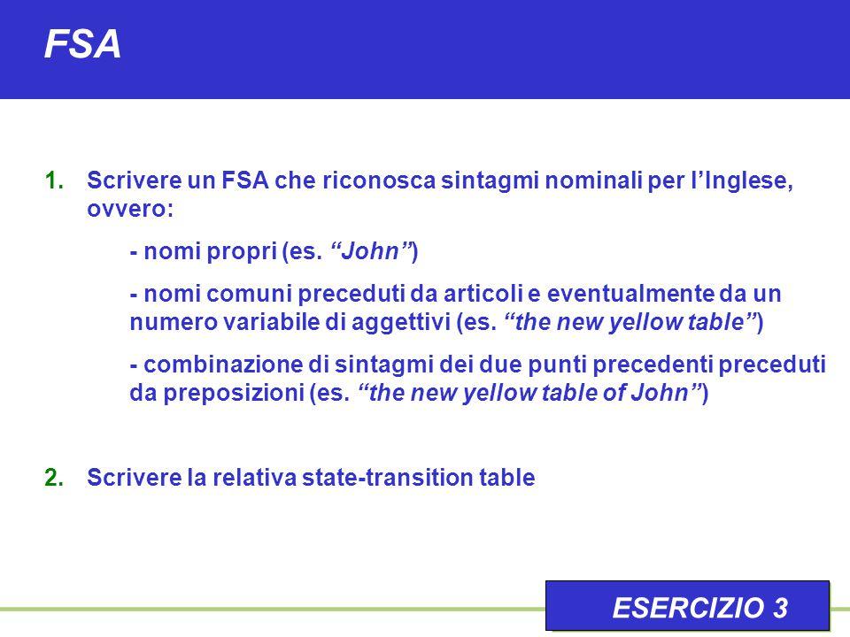 """FSA 1.Scrivere un FSA che riconosca sintagmi nominali per l'Inglese, ovvero: - nomi propri (es. """"John"""") - nomi comuni preceduti da articoli e eventual"""