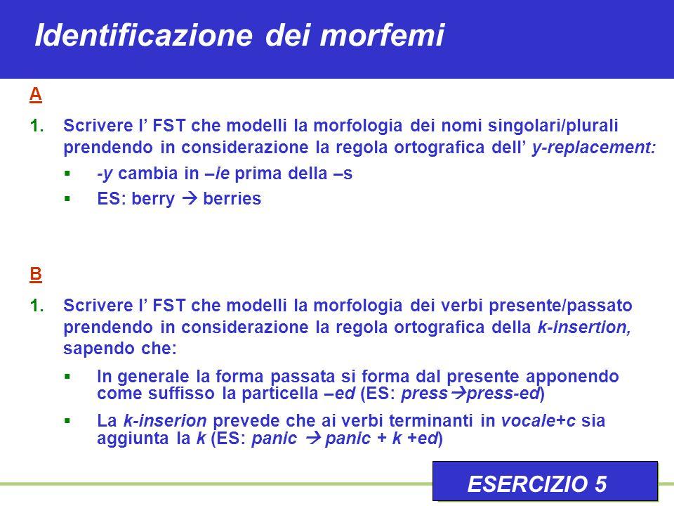 Identificazione dei morfemi A 1.Scrivere l' FST che modelli la morfologia dei nomi singolari/plurali prendendo in considerazione la regola ortografica