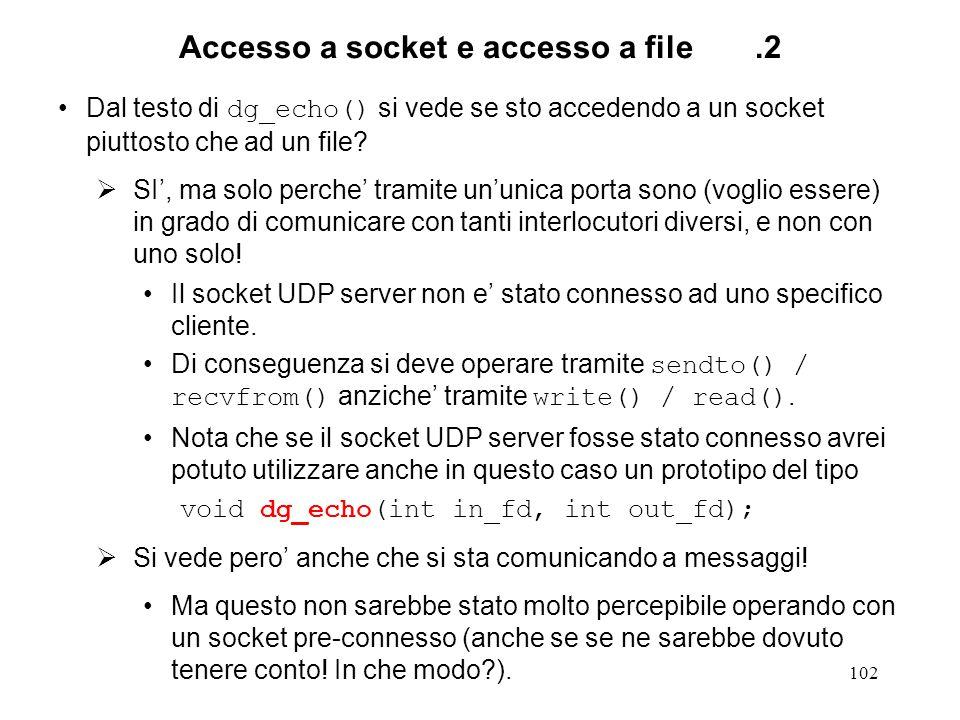 103 Server concorrente TCP.1 #include #define SERV_TCP_PORT 6000 int main(int argc, char *argv[]) { int sockfd, newsockfd, clilen, childpid, tmp; struct sockaddr_in cli_addr, serv_addr; sockfd = socket(AF_INET, SOCK_STREAM, IPPROTO_TCP); if (sockfd < 0) { err_dump( server: can t open socket ); }