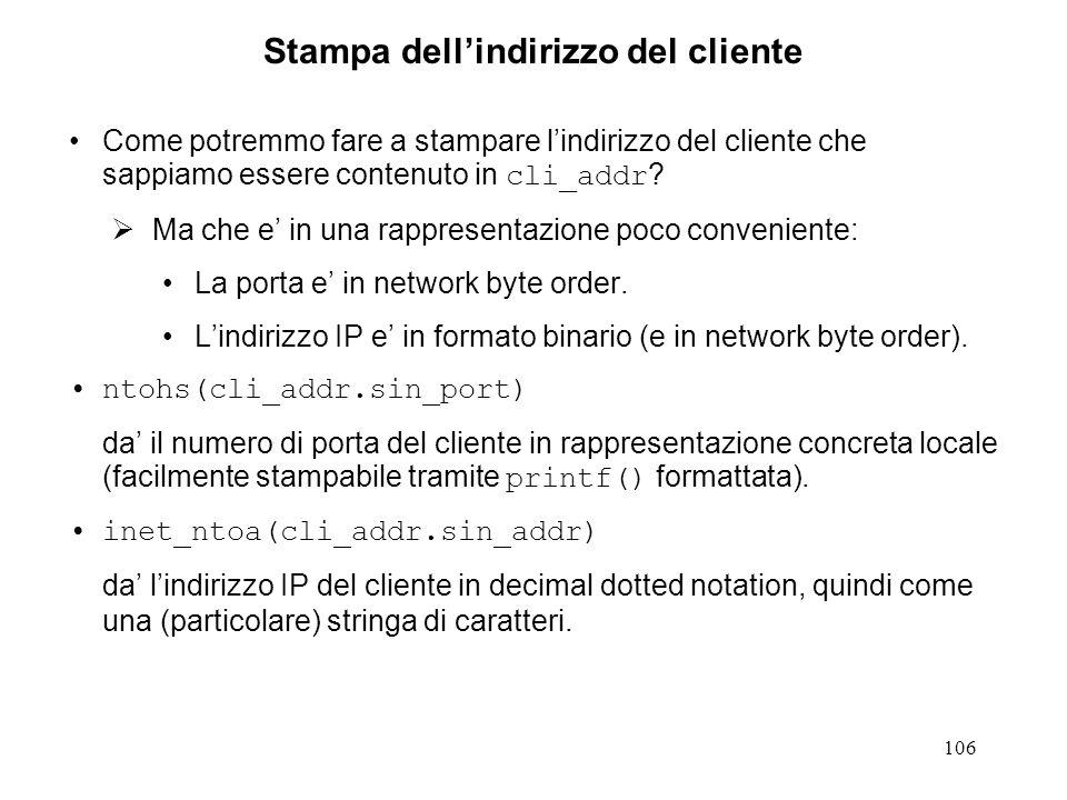 107 Server sequenziale TCP.1 #include #define SERV_TCP_PORT 6000 int main(int argc, char *argv[]) { int sockfd, newsockfd, clilen, childpid, tmp; struct sockaddr_in cli_addr, serv_addr; sockfd = socket(AF_INET, SOCK_STREAM, IPPROTO_TCP); if (sockfd < 0) { err_dump( server: can t open socket ); }